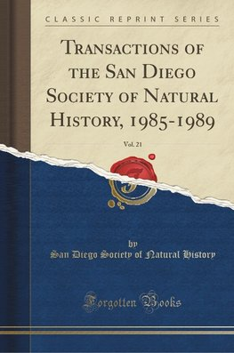 History, S: Transactions of the San Diego Society of Natural